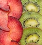 Fondo con el kiwi y el ciruelo Imágenes de archivo libres de regalías