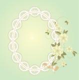 Fondo con el marco del cordón con las flores Imagenes de archivo