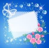Fondo con el marco, las rosas y la mariposa Fotos de archivo libres de regalías