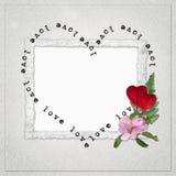 Fondo con el marco y el corazón Imagen de archivo