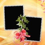 Fondo con el marco y las flores Imagenes de archivo