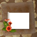 Fondo con el marco y las flores Imagen de archivo libre de regalías