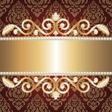 Marco y perlas de la joyería del oro ilustración del vector