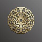 Fondo con el modelo inconsútil del oro en backgroud negro en estilo islámico Fotografía de archivo libre de regalías