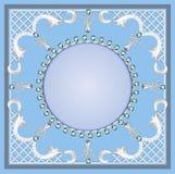 Fondo con el ornamento con las perlas y las piedras preciosas ilustración del vector