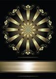 Fondo con el ornamento y la cinta de oro Imagen de archivo libre de regalías