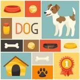 Fondo con el perro, los iconos y los objetos lindos Foto de archivo libre de regalías