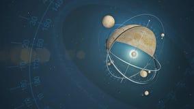 Fondo con el planetario inventado stock de ilustración