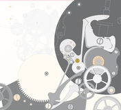 Fondo con el reloj mechanism1 Foto de archivo libre de regalías