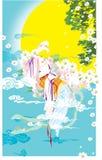 Fondo con el sol, el cielo y la flor Fotografía de archivo