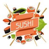 Fondo con el sushi Imagen de archivo libre de regalías