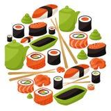 Fondo con el sushi Fotos de archivo