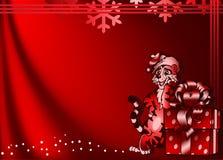 Fondo con el tigre divertido y un rectángulo de regalo. libre illustration
