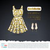 Fondo con el vestido floral del verano de la mostaza y los zapatos negros en encariñado gris oscuro stock de ilustración