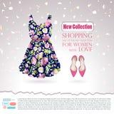 Fondo con el vestido floral del verano de los azules marinos y los zapatos rosados en encariñado blanco con brillos y confeti ilustración del vector