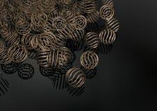 Fondo con estilo de las esferas del anillo de cobre amarillo Foto de archivo