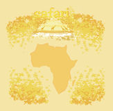 Fondo con fauna africana e la flora Fotografia Stock Libera da Diritti