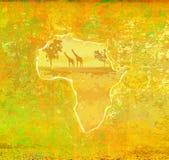 Fondo con fauna africana y la flora Imagenes de archivo