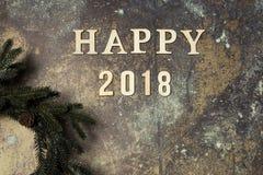 Fondo con Feliz Año Nuevo de la palabra 2018 Fotografía de archivo