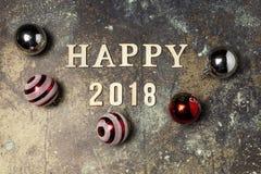 Fondo con Feliz Año Nuevo de la palabra 2018 Imágenes de archivo libres de regalías