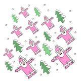 Fondo con gli alberi di Natale e Santa Claus Immagine Stock Libera da Diritti