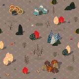 Fondo con gli alberi stilizzati di autunno Paesaggio luminoso della foresta illustrazione di stock