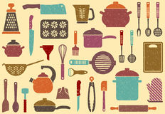 Fondo con gli articoli della cucina Fotografie Stock Libere da Diritti