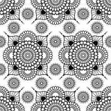 Fondo con gli elementi floreali senza cuciture della decorazione di buta del pizzo del hennè in bianco e nero di mehndi su fondo  royalty illustrazione gratis