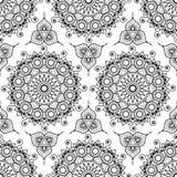Fondo con gli elementi senza cuciture della decorazione di buta del pizzo del hennè in bianco e nero di mehndi Immagini Stock Libere da Diritti