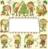 Fondo con gli elfi di natale - illustrazione Immagini Stock Libere da Diritti