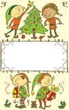 Fondo con gli elfi - illustrazione della cartolina di Natale Fotografia Stock