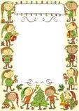 Fondo con gli elfi - illustrazione di Natale Immagini Stock