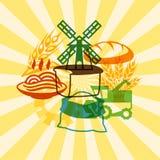 Fondo con gli oggetti agricoli Immagine Stock