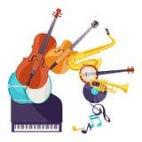 Fondo con gli strumenti musicali Jazz Music Festival Poster illustrazione di stock