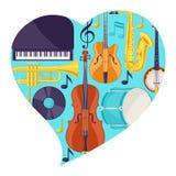 Fondo con gli strumenti musicali Jazz Music Festival Poster royalty illustrazione gratis