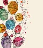 Fondo con helado de la acuarela y magdalenas deliciosos, coloridos libre illustration