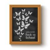 Fondo con i butterflys sulla lavagna Fotografia Stock Libera da Diritti