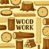 Fondo con i ceppi, i tronchi e le plance di legno Progettazione per silvicoltura ed industria del legname illustrazione vettoriale