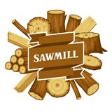 Fondo con i ceppi, i tronchi e le plance di legno Progettazione per silvicoltura ed industria del legname royalty illustrazione gratis
