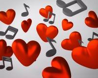 Fondo con i cuori e le note musicali Illustrazione Vettoriale
