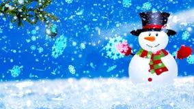 Fondo con i fiocchi di neve e la rappresentazione piacevoli del pupazzo di neve 3D di natale Fotografia Stock