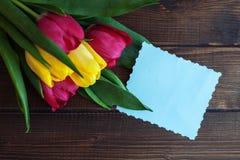 Fondo con i fiori e una carta per le congratulazioni Vista superiore Fotografia Stock