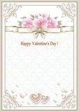 Fondo con i fiori ed i cuori nel telaio con un ornamento per il San Valentino Fotografie Stock Libere da Diritti