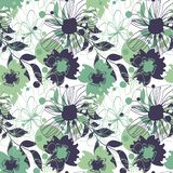 Fondo con i fiori nei toni verdi illustrazione di stock