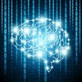 Fondo con i numeri della matrice ed il vettore del cervello illustrazione vettoriale
