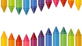 Fondo con i pastelli colorati su fondo bianco Ciclo senza cuciture per il vostro di nuovo ai progetti della scuola Animazione di  illustrazione di stock