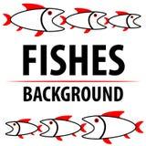 Fondo con i pesci Caratteri piani del fumetto Immagine di vettore illustrazione vettoriale