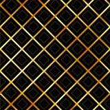 Fondo con i quadrati dorati e le bande diagonali Fotografia Stock