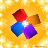 Fondo con i sacchetti della spesa del corredo nei colori differenti con i fiocchi di neve Illustrazione di vettore Fotografia Stock