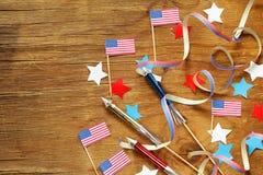 Fondo con i simboli dell'America - celebrazione del 4 luglio Fotografia Stock